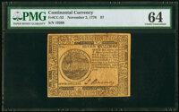 Continental Currency November 2, 1776 $7 PMG Choice Uncirculated 64