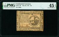 Continental Currency July 22, 1776 $2 PMG Choice Extremely Fine 45 EPQ