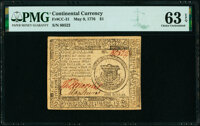 Continental Currency May 9, 1776 $1 PMG Choice Uncirculated 63 EPQ