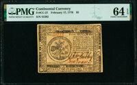 Continental Currency February 17, 1776 $5 PMG Choice Uncirculated 64 EPQ