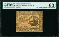Continental Currency February 17, 1776 $2 PMG Choice Uncirculated 63 EPQ