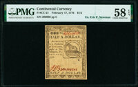 Continental Currency February 17, 1776 $1/2 PMG Choice About Unc 58 EPQ