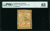 Continental Currency February 17, 1776 $1/6 PMG Choice Uncirculated 63