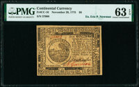Continental Currency November 29, 1775 $6 PMG Choice Uncirculated 63 EPQ