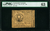 Continental Currency May 10, 1775 $30 PMG Choice Uncirculated 63
