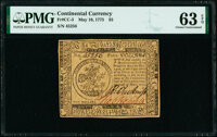 Continental Currency May 10, 1775 $5 PMG Choice Uncirculated 63 EPQ