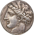 Ancients:Greek, Ancients: SICILY. Siculo-Punic. Ca. 264-260 BC. AR 5-shekels or decadrachm (38mm, 36.54 gm, 11h). NGC XF 5/5 - 1/5, sm...