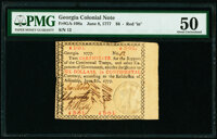 """Georgia June 8, 1777 $6 Red """"in"""" PMG About Uncirculated 50"""