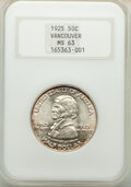 Commemorative Silver, 1925 50C Vancouver MS63 NGC. NGC Census: (309/1744). PCGS Population: (757/2341). MS63. Mintage 14,994. ...