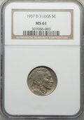 Buffalo Nickels, 1937-D 5C Three-Legged, FS-901, MS61 NGC. NGC Census: (463/1240). PCGS Population: (0/11). MS61. Mintage 17,826,000. ...