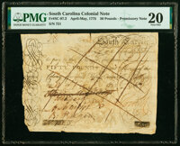 South Carolina April-May, 1775 £50 Private Promissory Note PMG Very Fine 20, pen cancelled