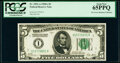 Small Size:Federal Reserve Notes, Fr. 1951-A $5 1928A Federal Reserve Note. PCGS Gem New 65PPQ.. ...