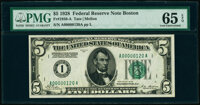 Low Serial Number 120 Fr. 1950-A $5 1928 Federal Reserve Note. PMG Gem Uncirculated 65 EPQ