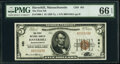 National Bank Notes:Massachusetts, Haverhill, MA - $5 1929 Ty. 1 The First National Bank Ch. # 481 PMG Gem Uncirculated 66 EPQ.. ...