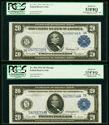 Large Size:Federal Reserve Notes, Reverse Changeover Pair Fr. 991b/991a $20 1914 Federal Reserve Notes PCGS About New 53PPQ.. ... (Total: 2 notes)
