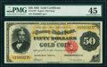 Large Size:Gold Certificates, Fr. 1197 $50 1882 Gold Certificate PMG Choice Extremely Fine 45.. ...