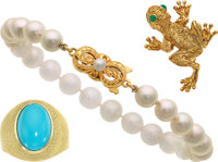 Cultured Pearl, Turquoise, Dyed Chalcedony, Gold Jewelry ... (Total: 3 Items)