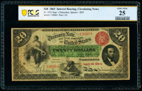 Fr. 197a $20 1863 Interest Bearing Note PCGS Banknote Very Fine 25
