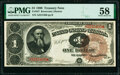 Fr. 347 $1 1890 Treasury Note PMG Choice About Unc 58