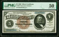 Large Size:Silver Certificates, Fr. 264 $5 1886 Silver Certificate PMG About Uncirculated 50.. ...