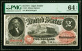 Large Size:Legal Tender Notes, Fr. 43 $2 1874 Legal Tender PMG Choice Uncirculated 64 EPQ.. ...