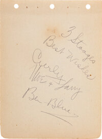The Three Stooges Signed and Inscribed Album Page