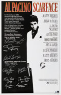 Movie/TV Memorabilia:Autographs and Signed Items, Scarface Theatrical One-Sheet Signed by Main Cast....