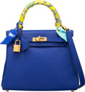 Luxury Accessories:Bags, Hermès 25cm Blue Electric Swift Leather Retourne Kelly Bag with Gold Hardware and Twilly Scarf. A, 2017. Condition: 2...
