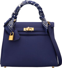 Hermès 25cm Blue Encre Togo Leather Retourne Kelly Bag with Gold Hardware and Twilly Scarf C, 2018 Condition: 1...