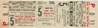 1926 World Series Game Five Full Ticket