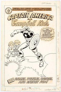 Herb Trimpe and John Romita Sr. Captain America and the Campbell Kids Cover Original Art (Marvel, 1980)