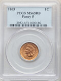 Indian Cents: , 1865 1C Fancy 5 MS65 Red and Brown PCGS. PCGS Population: (109/13). NGC Census: (144/17). CDN: $650 Whsle. Bid for NGC/PCGS...