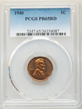Proof Lincoln Cents, 1940 1C PR65 Red PCGS. PCGS Population: (721/315). NGC Census: (316/156). CDN: $100 Whsle. Bid for NGC/PCGS PR65. Mintage 1...