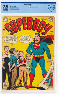 Superboy #1 (DC, 1949) CBCS VF- 7.5 Off-white pages