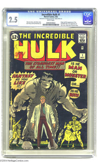 The Incredible Hulk #1 (Marvel, 1962) CGC GD+ 2.5 White pages. Origin and first appearance of the Hulk. Jack Kirby cover...