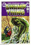 Bronze Age (1970-1979):Horror, Swamp Thing #1 (DC, 1972) Condition: Qualified VF-. Origin. BernieWrightson cover and art. Cover detached from top staple. ...