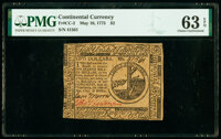 Continental Currency May 10, 1775 $2 PMG Choice Uncirculated 63 EPQ