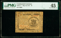 Continental Currency May 10, 1775 $1 PMG Choice Extremely Fine 45