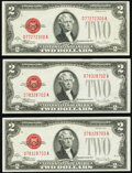 Small Size:Legal Tender Notes, Fr. 1507 $2 1928F Legal Tender Notes. Three Examples. Choice Crisp Uncirculated.. ... (Total: 3 notes)