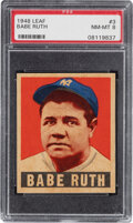 Baseball Cards:Singles (1940-1949), 1948-49 Leaf Babe Ruth #3 PSA NM-MT 8 - Only Two Higher. ...