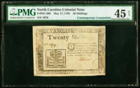 North Carolina May 17, 1783 20s Crown and book Contemporary Counterfeit PMG Choice Extremely Fine 45 Net