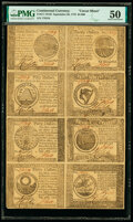Colonial Notes:Continental Congress Issues, Continental Currency September 26, 1778 $60-$50-$40-$30-$20-$8-$7-$5 Uncut Half Sheet of Eight PMG About Uncirculated 50....