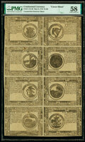 Colonial Notes:Continental Congress Issues, Continental Currency May 9, 1776 $1-$2-$3-$4-$8-$7-$6-$5 Counterfeit Detector Uncut Sheet PMG Choice About Unc 58.. ...