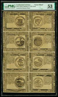 Continental Currency February 17, 1776 $1-$2-$3-$4-$8-$7-$6-$5 Counterfeit Detector Uncut Sheet PMG About Uncirculated 5...