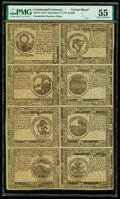 Colonial Notes:Continental Congress Issues, Continental Currency November 2, 1776 $30-$2-$3-$4-$8-$7-$6-$5 Counterfeit Detector Uncut Sheet PMG About Uncirculated 55.