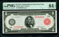Fr. 833a $5 1914 Red Seal Federal Reserve Note PMG Choice Uncirculated 64 EPQ