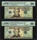Low Serial Numbers 5 and 6 Fr. 2094-K $20 2006 Federal Reserve Notes. PMG Gem Uncirculated 66 EPQ