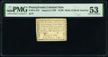 Pennsylvania August 6, 1789 $1/90 PMG About Uncirculated 53