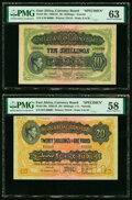 World Currency, East Africa East African Currency Board 10; 20 Shillings 1.6.1939; 1.1.1947 Pick 29s; 30s Two Specimen PMG Choice Uncircul... (Total: 2 notes)