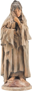 Sculpture, John Coleman (American, b. 1949). Taos Trade, 1999. Bronze with polychrome. 20-1/2 inches (52.1cm) high on a 1/2 inch (1...